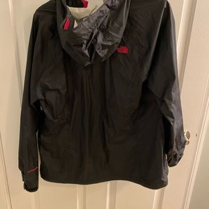 North face rain jacket black with pink accents
